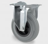 Transporthjul, gummi, 100 mm - Fasthjul plade mont.